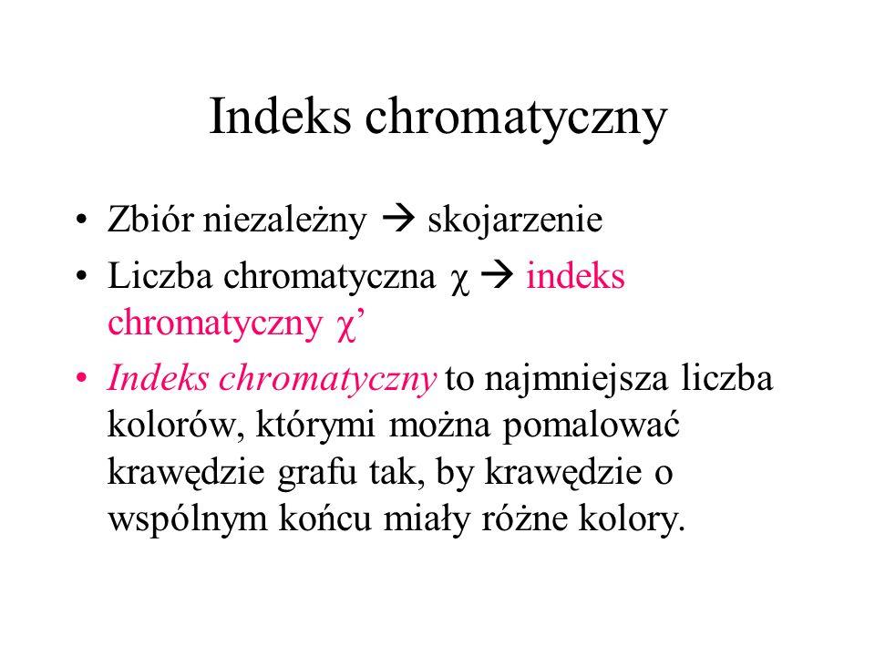 Indeks chromatyczny Zbiór niezależny skojarzenie Liczba chromatyczna χ indeks chromatyczny χ Indeks chromatyczny to najmniejsza liczba kolorów, którymi można pomalować krawędzie grafu tak, by krawędzie o wspólnym końcu miały różne kolory.