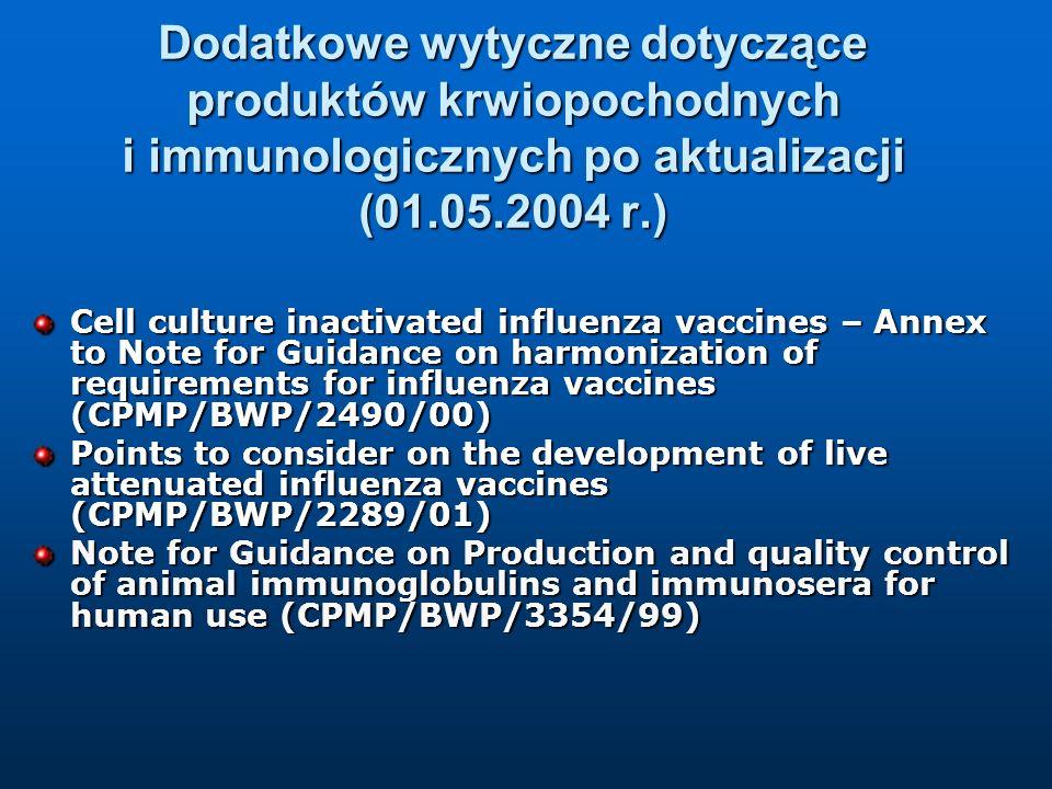 Dodatkowe wytyczne dotyczące produktów krwiopochodnych i immunologicznych po aktualizacji (01.05.2004 r.) - c.d.