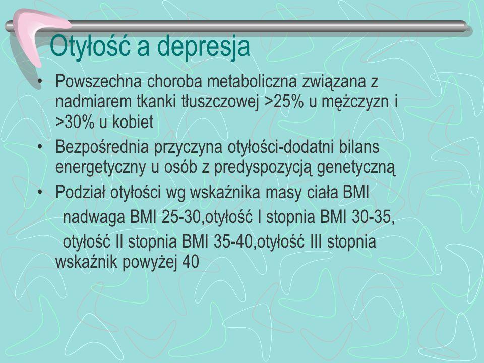 Otyłość a depresja Otyłość skraca życie poprzez wielorakie konsekwencje metaboliczne Powstaje cukrzyca, zawał serca, udar mózgu, NT, nowotwory piersi,endomertium,okrężnicy,zespół bezdechu, Zwiększone ryzyko dyslipidemii, kamicy pęcherzyka żółciowego, hiperurikemii, choroby zwyrodnieniowej, Cierpienie psychiczne –depresja,izolacja od otoczenia,ograniczenie aktywności,zawodowej,ograniczenie korzystania z różnych form rekreacji i podejmowania pracy w wielu zawodach