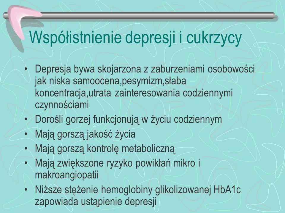 Współistnienie depresji i cukrzycy Leki przeciwdepresyjne mogą mieć działanie diabetogenne Fluoksetyna nie ma tego działania Leczenie jest dłuższe,nawroty występują częściej,bardziej zdecydowane