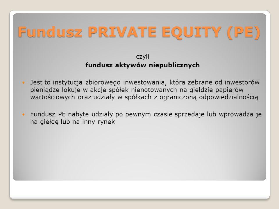 Fundusze VENTURE CAPITAL (VC) To odrębna kategoria funduszy aktywów niepublicznych Kapitał funduszu VC jest wnoszony do kupowanych spółek we wczesnej fazie funkcjonowania spółki lub w fazie ekspansji Inwestycje funduszy VC są obarczone dużym ryzykiem – dlatego uczestnicy tych funduszy oczekują wysokiej stopy zwrotu