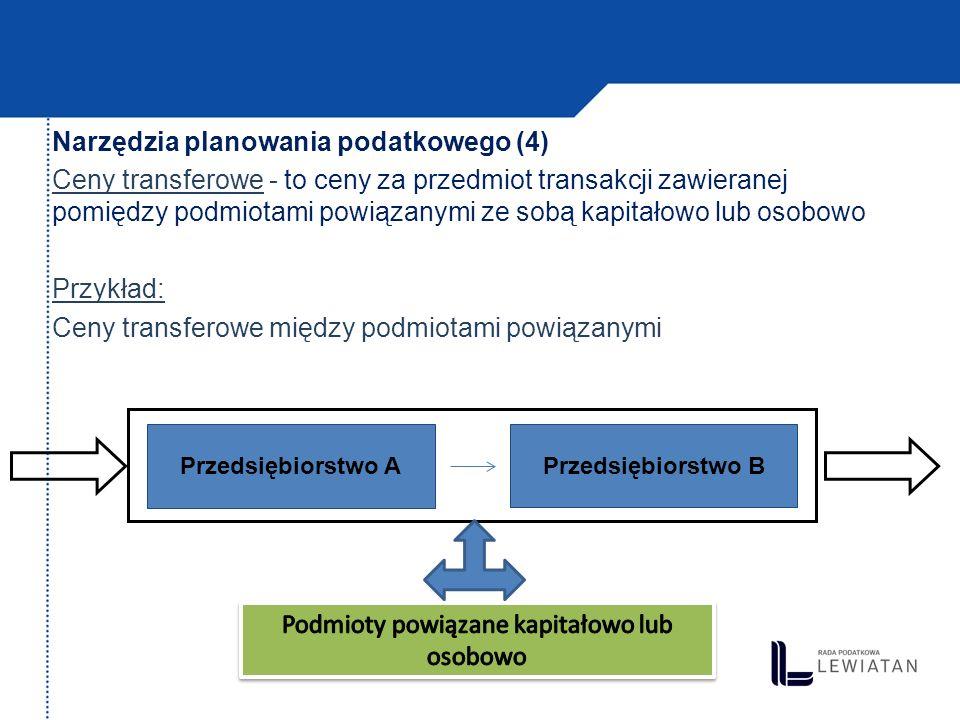 Narzędzia planowania podatkowego (5) Ceny transferowe Dokumentacja cen transferowych Metody szacowania cen transferowych: - metoda porównywalnej ceny niekontrolowanej - metoda ceny odsprzedaży - metoda rozsądnej marży (koszt plus) - metody zysku transakcyjnego