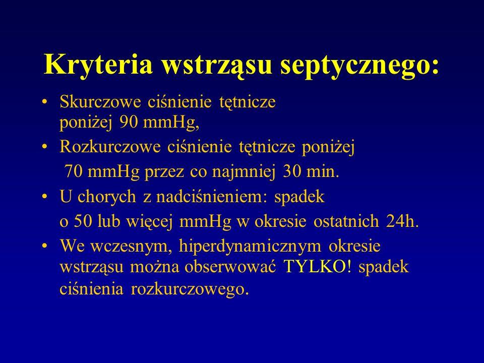 Kryteria wstrząsu septycznego - objawy kliniczne.: (co najmniej trzy z wymienionych): diureza godzinowa <50 ml, zaburzenia świadomości: chory nieprzytomny, niespokojny, splątany ( w skali Glasgow <8p.), kwasica metaboliczna: pH < 7.3, BE < (-8 mmol/l),