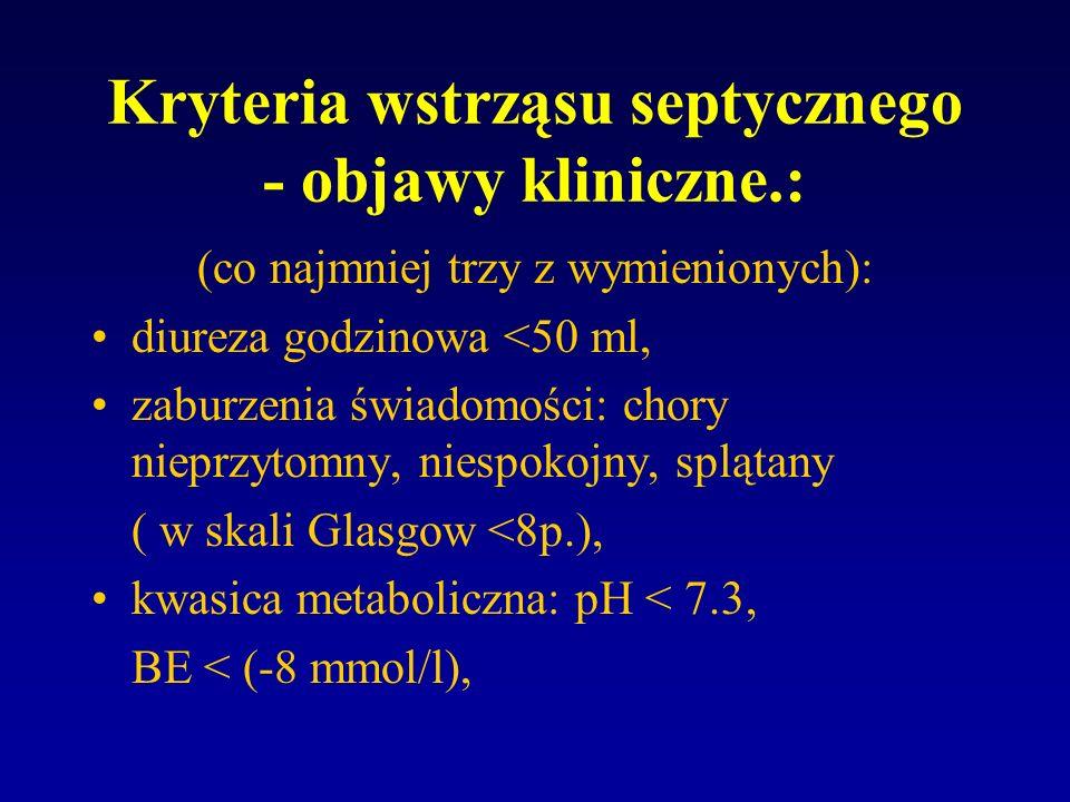 Kryteria wstrząsu septycznego - objawy kliniczne.: częstość oddechów > 25/min, tętno > 120/min, objawy niedrożności, nawet u chorych z pozabrzuszną przyczyną posocznicy.