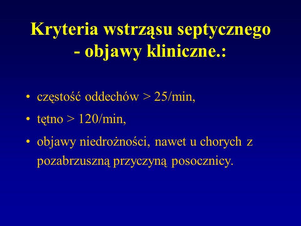 Kryteria wstrząsu septycznego - stwierdzenie objawów zakażenia: obecność ogniska zakażenia: (zapalenie otrzewnej, ropnie, zapalenie płuc) obecność drobnoustrojów we krwi, moczu, płucach, otrzewnej, płynie mózgowo - rdzeniowym, temperatura ciała > 38.5 C, leukocytoza: >12tys/mm3 lub < 3000/mm 3 dreszcze.