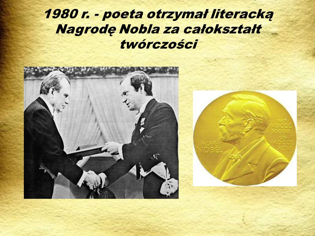 Poezja Czesława Miłosza Wiersze Czesława Miłosza są intelektualne, a metafory, jakich używa – sugestywne.