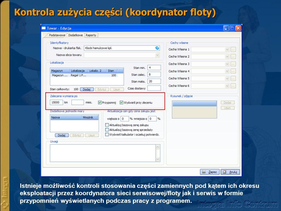 Szczegółowe raporty serwisowe oraz kontrola obrotów częściami zamiennymi Centralna bazą danych – raporty Copyright by Integra Software.
