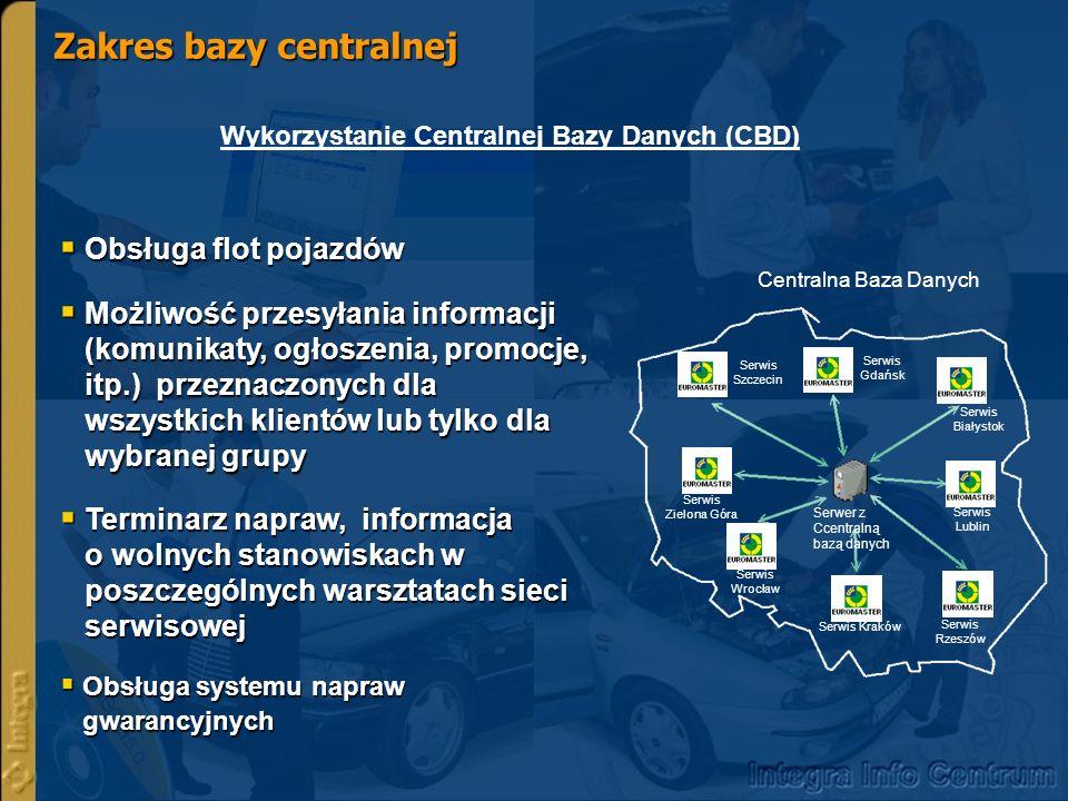 Zakres bazy centralnej Wykorzystywanie zgromadzonych danych w CBD do rzeczywistego i dokładnego raportowania na temat: raportowania obsługi pojazdów flotowych części używanych do napraw w sieci np.