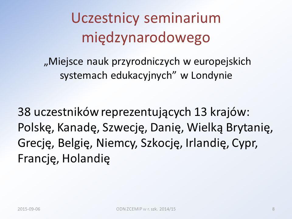 Granty realizowane pod patronatem Kuratorium Oświaty w Szczecinie liczba zadań 8 liczba grup w ramach jednego zadania 3 razem liczba grup 24, w tym: 6 grup w Szczecinie 18 grup poza Szczecinem liczba osób w grupie 20 razem liczba uczestniczących osób 480 2015-09-06ODN ZCEMiP w r.