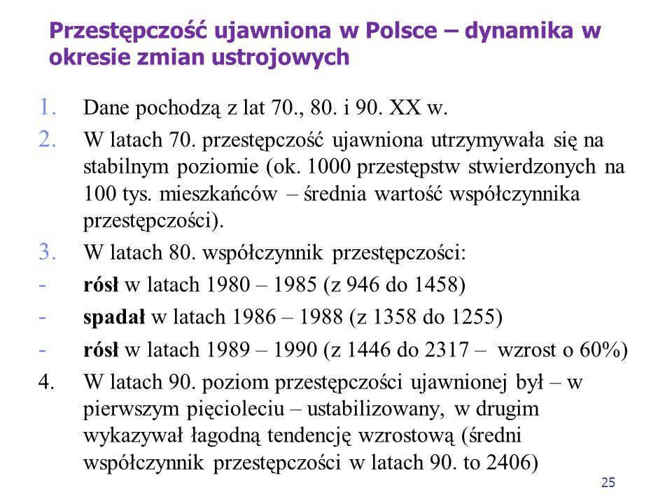 25 Przestępczość ujawniona w Polsce – dynamika w okresie zmian ustrojowych 1.
