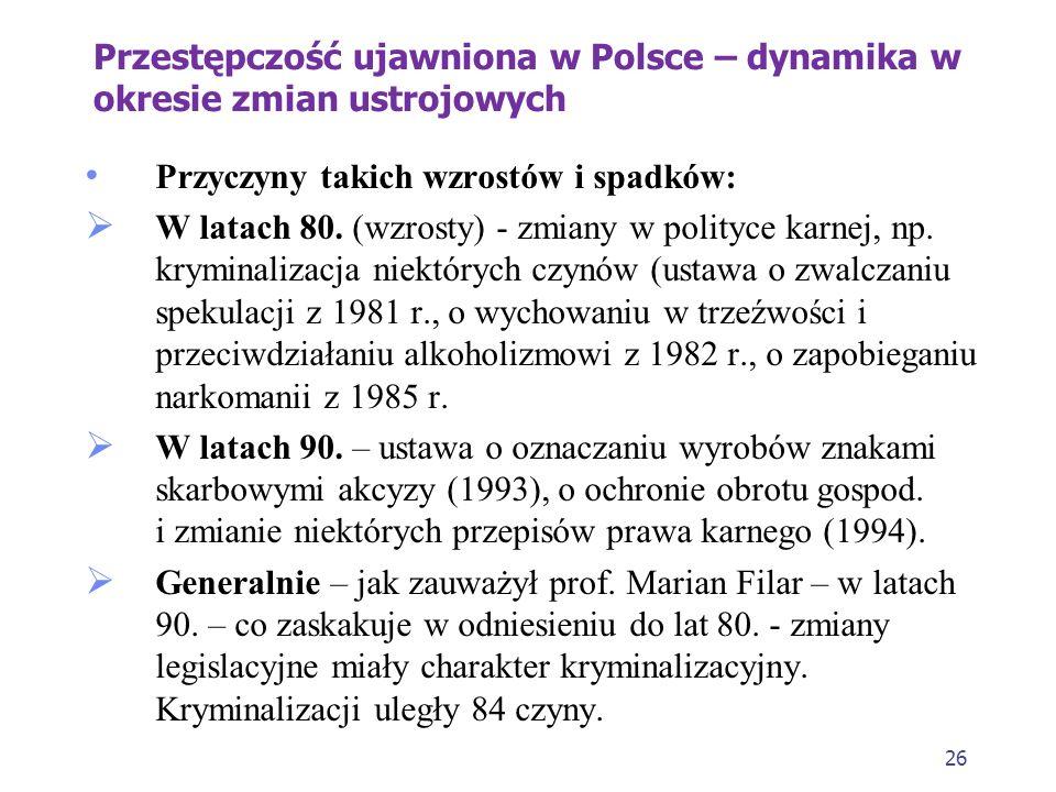 26 Przestępczość ujawniona w Polsce – dynamika w okresie zmian ustrojowych Przyczyny takich wzrostów i spadków: W latach 80.