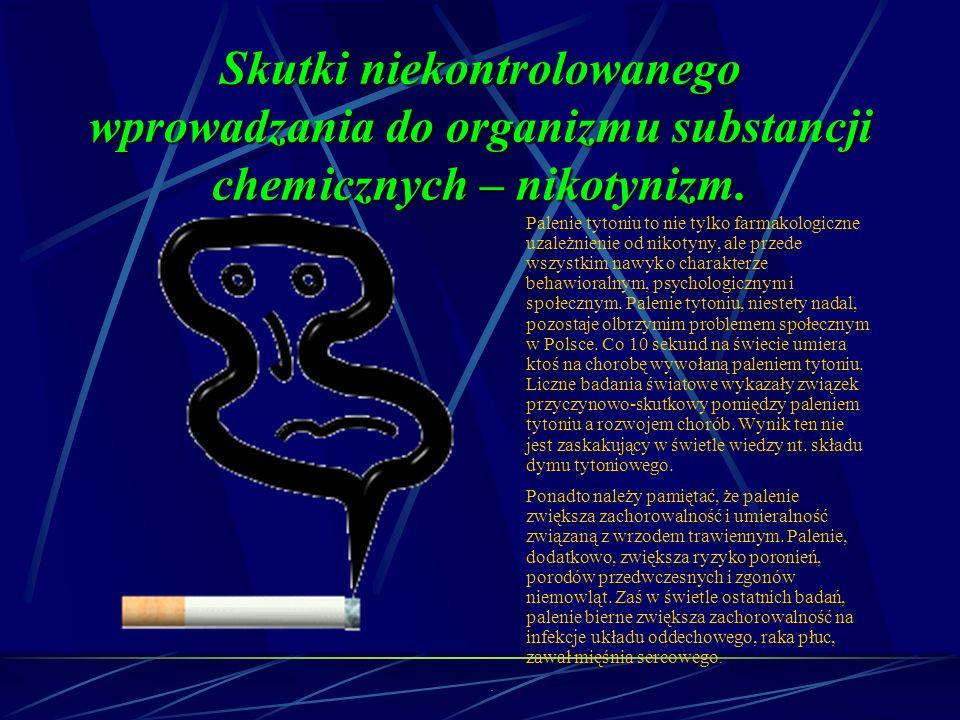 Skutki niekontrolowanego wprowadzania do organizmu substancji chemicznych – nikotynizm.