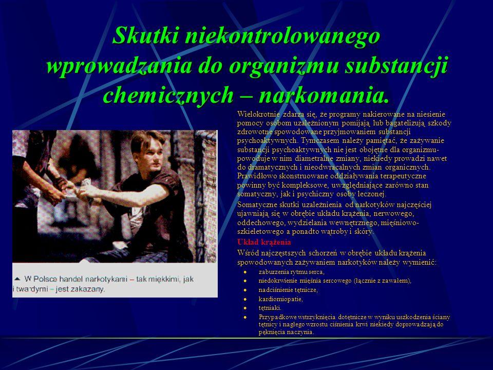 Skutki niekontrolowanego wprowadzania do organizmu substancji chemicznych – narkomania.