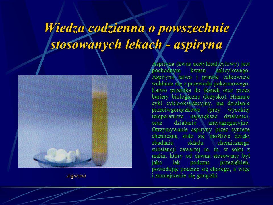 Wiedza codzienna o powszechnie stosowanych lekach - aspiryna Aspiryna (kwas acetylosalicylowy) jest pochodnym kwasu salicylowego.