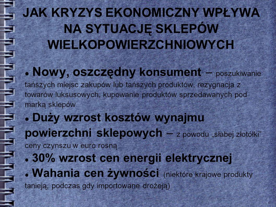 JAK KRYZYS EKONOMICZNY WPŁYWA NA SYTUACJĘ SKLEPÓW WIELKOPOWIERZCHNIOWYCH (…) dla niektórych formatów, przede wszystkim dla sklepów dyskontowych, kryzys może oznaczać szansę Handel detaliczny artykułami spożywczymi w Polsce 2008.