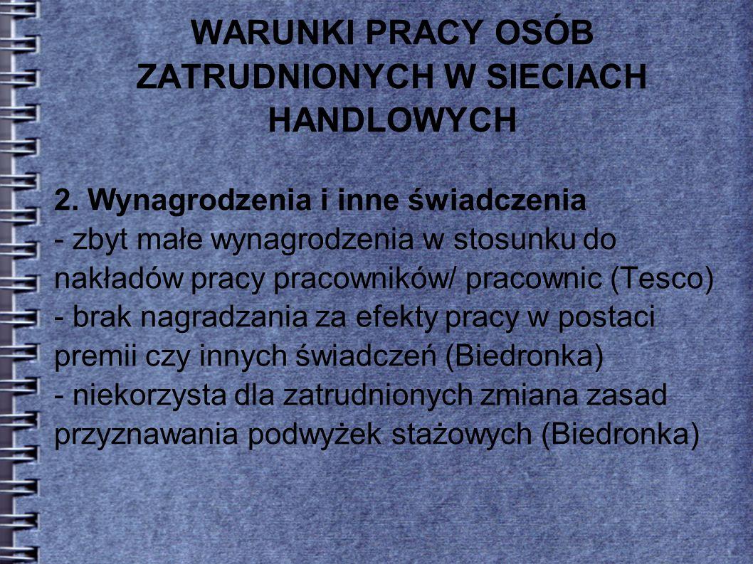 WARUNKI PRACY OSÓB ZATRUDNIONYCH W SIECIACH HANDLOWYCH 3.