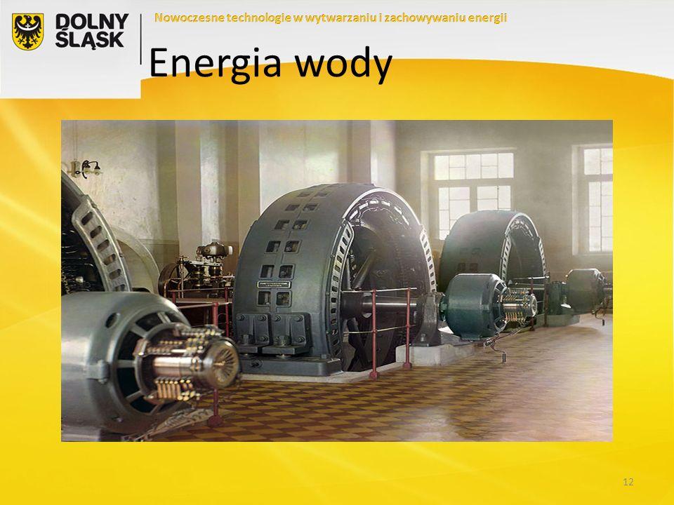Elektrownie wodne: ZALETY Trwała i sprawdzona technologia Połączenie funkcji energetycznej i retencyjnej Relatywnie tani prąd odnawialny Możliwość sprostania przez Polskę wymogom OŹE Dobre warunki wodne na Dolnym Śląsku Przewidywalne źródło odnawialnej energii Przy małych elektrowniach niewielki wpływ na człowieka, środowisko i krajobraz Przy układach szczytowo-pompowych możliwość magazynowania energii elektrycznej.