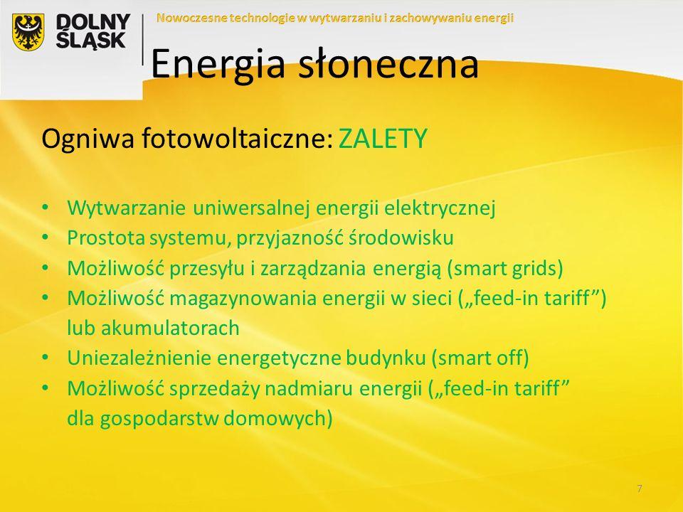 Ogniwa fotowoltaiczne: WADY Ciągłe poszukiwanie taniej i sprawnej technologii Nieopłacalność bez dotowania Zależność od warunków pogodowych i dobowych (konieczność drogiego buforowania) Nadmiar lub niedomiar energii w cyklu rocznym (buforowanie) Drogie magazynowanie energii elektrycznej (szczególnie w Polsce – system Zielonych Certyfikatów i koncesja) Słaba konkurencja na rynku z powodu dotowania 8 Energia słoneczna