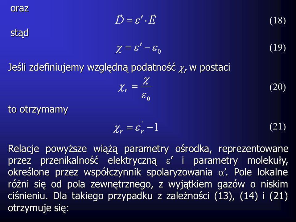 Dla pozostałych ośrodków pole lokalne ma postać (pole Mosotti): (23) Podstawiając powyższą zależność do wzoru (13) otrzymujemy Przekształcając, otrzymujemy: ostatecznie: (24) (22)