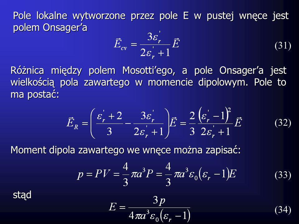 (35) wtedy wzór (32) przyjmie postać: Pole E R jest równoległe do dipola i nie wpływa na niego.