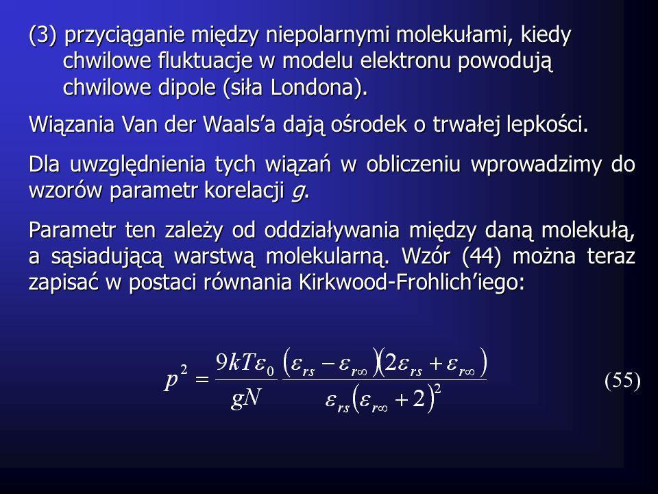 Czas relaksacji Dipol molekuły zostaje wprawiony w ruch obrotowy kiedy zachodzi związek (26): (56) Jego szybkość kątowa d /dt jest wyrażona zależnością Współczynnik jest współczynnikiem tarcia, który zależy od rozmiarów molekuły i wiązań między nimi.