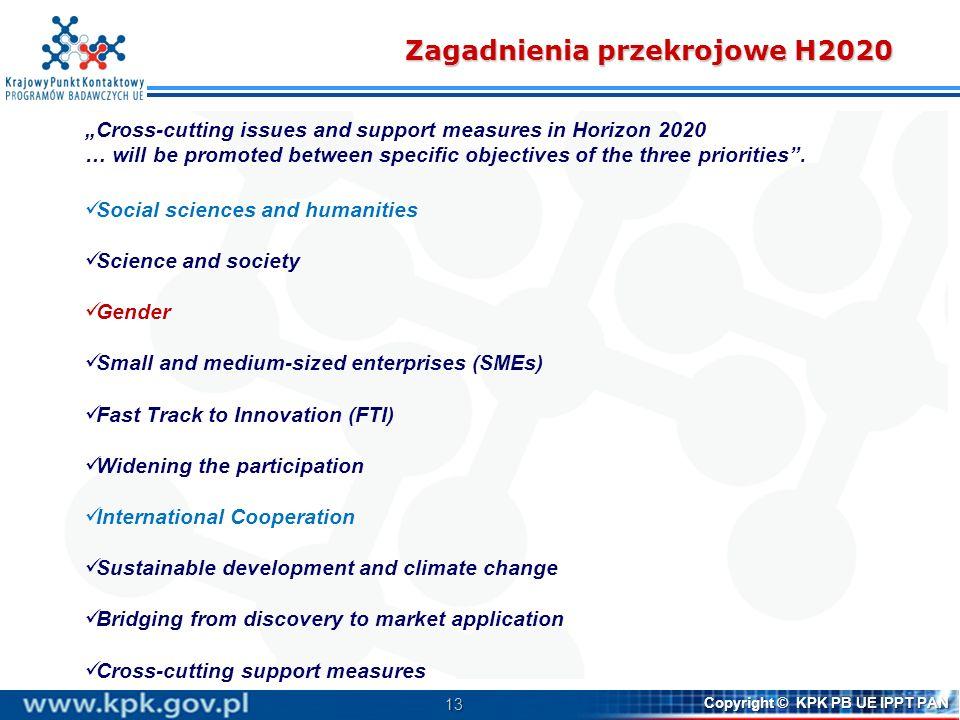 14 Copyright © KPK PB UE IPPT PAN SSH w H2020 Social sciences and humanities (SSH) research will be fully integrated into each of the general objectives of Horizon 2020 Doskonała baza naukowa Wiodąca pozycja w przemyśle Wyzwania społeczne SSH SSH zintegrowane LEIT wszystkie 17% ERC 11-12% MSCA ESS DARIAH CLARIN Aspekty społeczne innowacji modele zarządzania modele biznesowe Aspekty kulturowe innowacji Podnoszenie świadomości Aspekty prawne Aspekty społeczno- ekonom.