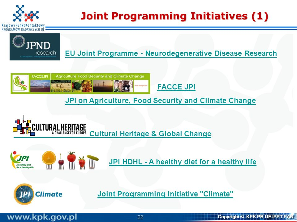 23 Copyright © KPK PB UE IPPT PAN Joint Programming Initiatives (2) Joint Programming Initiative - Urban Europe JPI More years, better lives - The Potential and Challenges of Demographic Change Healthy and Productive Seas and Oceans Water Challenges for a Changing World JPI Antimicrobial Resistance