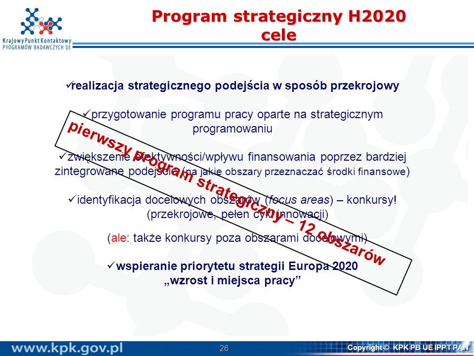 27 Copyright © KPK PB UE IPPT PAN Program strategiczny H2020 Obszary strategiczne Spersonalizowana opieka medyczna Zrównoważone bezpieczeństwo żywności Niebieski wzrost: wykorzystanie potencjału oceanów Inteligentne miasta i środowiska Konkurencyjna energia niskowęglowa Efektywność energetyczna Mobilność na rzecz wzrostu Odpady: materiały do recyklingu, ponownego użycia i odzyskania surowców Innowacje w zakresie wody: wykorzystanie jej zalet dla Europy Przezwyciężanie kryzysu: nowe pomysły, strategie i struktury zarządzające dla Europy Odporność na klęski: bezpieczeństwo społeczeństwa, w tym adaptacja do zmian klimatycznych Bezpieczeństwo cyfrowe P r o j e k t
