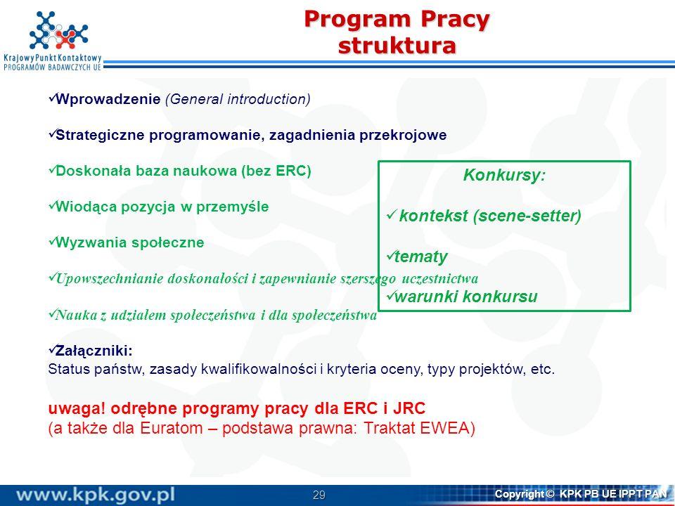 30 Copyright © KPK PB UE IPPT PAN Negocjacje programu H2020 na forum UE gdzie jesteśmy.