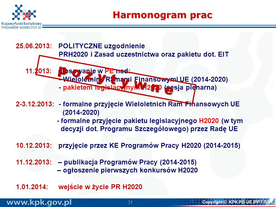 32 Copyright © KPK PB UE IPPT PAN Dodatkowe informacje http://www.kpk.gov.pl/index.html http://ec.europa.eu/research/horizon2020/index_en.cfm Horizon 2020