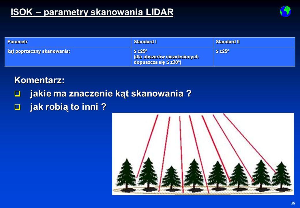 40 Parametr Standard I Standard II pokrycie poprzeczne między szeregami 20% 20% minimalna szerokość pasa pokrycia poprzecznego 100 m 100 m Komentarz: po co pokrycie poprzeczne .