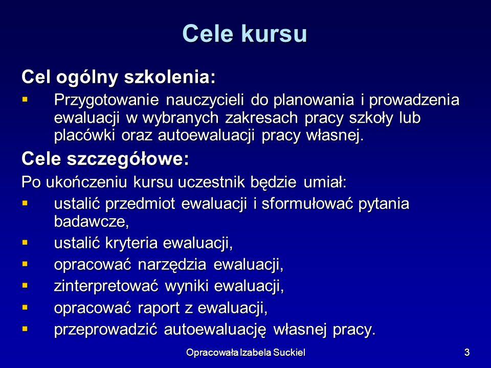 Opracowała Izabela Suckiel4 Struktura kursu ZJAZD I - 20 godzin (10 sesji).