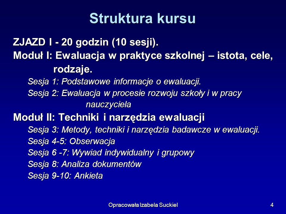 Opracowała Izabela Suckiel5 Struktura kursu ZJAZD II – 20 godzin (10 sesji).