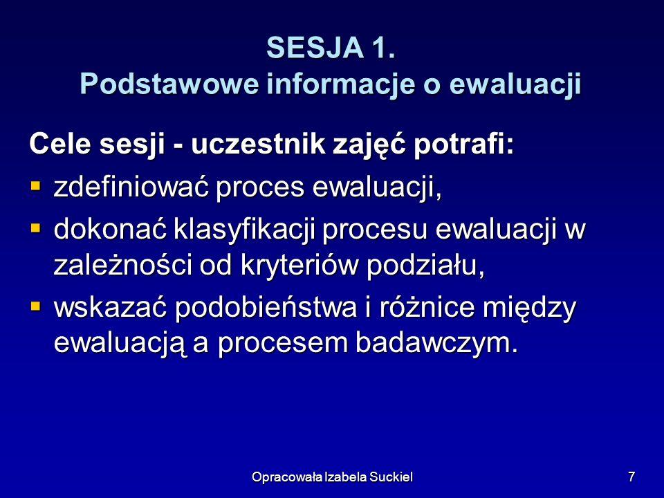 Opracowała Izabela Suckiel8 EWALUACJA Systematyczny proces obejmujący zbieranie informacji oraz zdawanie relacji (w postaci raportu) z tego, jak się rzeczy mają z intencją dostarczenia danych ułatwiających podejmowanie decyzji Systematyczny proces obejmujący zbieranie informacji oraz zdawanie relacji (w postaci raportu) z tego, jak się rzeczy mają z intencją dostarczenia danych ułatwiających podejmowanie decyzji H.
