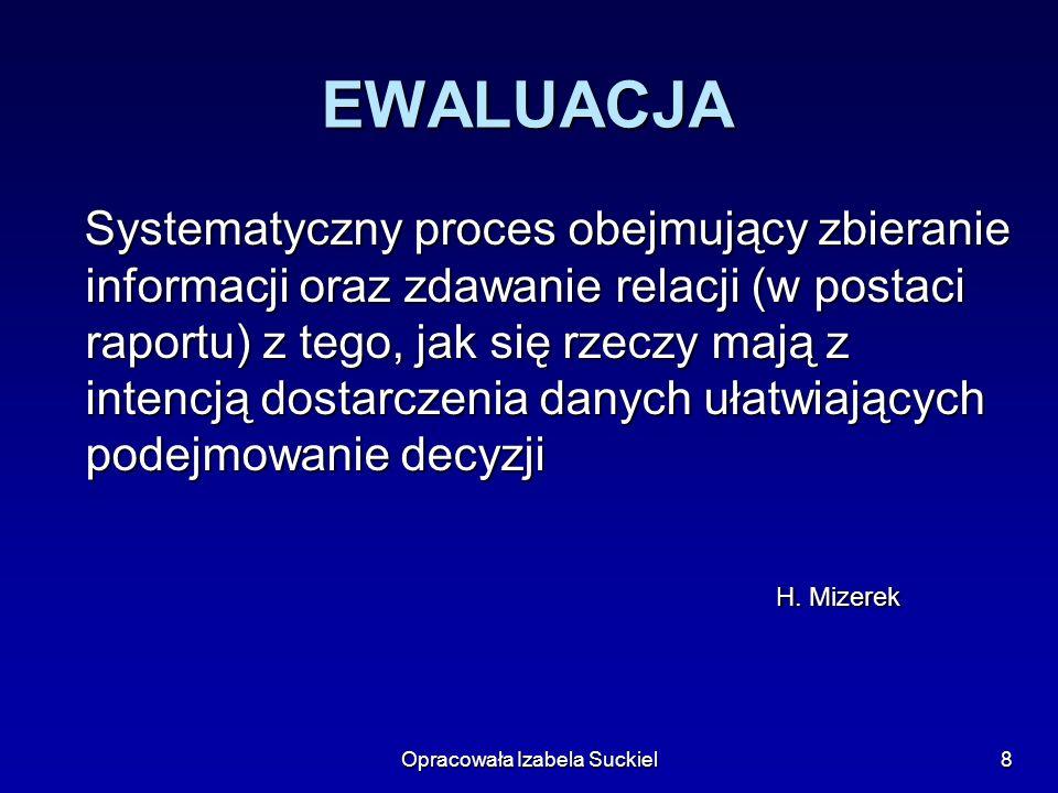 Opracowała Izabela Suckiel9 EWALUACJA Proces zbierania danych i ich interpretacja w celu podejmowania decyzji.