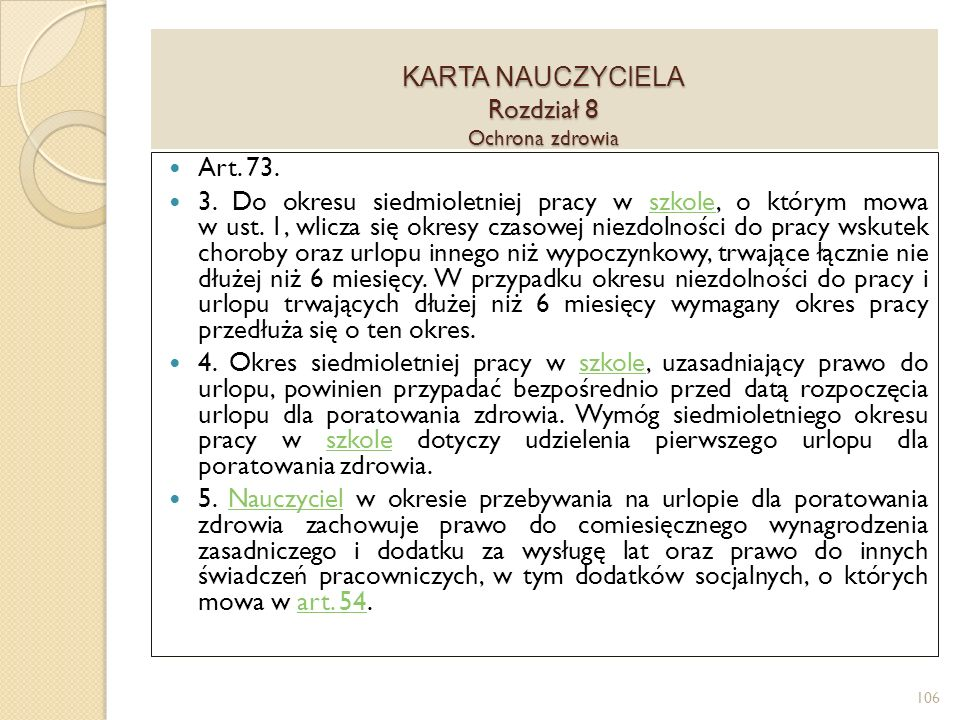 KARTA NAUCZYCIELA Rozdział 8 Ochrona zdrowia Art.73.