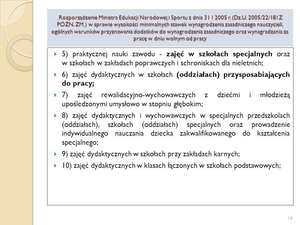11) zajęć dydaktycznych w języku obcym w szkołach z obcym językiem wykładowym, z wyjątkiem zajęć prowadzonych przez nauczycieli języka obcego, prowadzenie zajęć dydaktycznych w szkołach, w których zajęcia są prowadzone dwujęzycznie oraz przez nauczycieli danego języka obcego w oddziałach dwujęzycznych, a także prowadzenie zajęć dydaktycznych w języku obcym w nauczycielskich kolegiach języków obcych, z wyjątkiem lektorów języka obcego; 12) zajęć dydaktycznych w oddziałach klas realizujących program Międzynarodowej Matury z przedmiotów objętych postępowaniem egzaminacyjnym; 13) zajęć dydaktycznych w szkołach w zakładach poprawczych, schroniskach dla nieletnich i placówkach opiekuńczo-wychowawczych; Rozporządzenie Ministra Edukacji Narodowej i Sportu z dnia 31 I 2005 r.