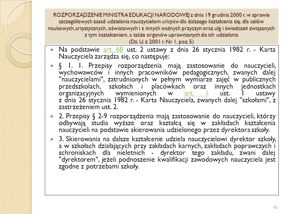 ROZPORZĄDZENIE MINISTRA EDUKACJI NARODOWEJ z dnia 19 grudnia 2000 r.