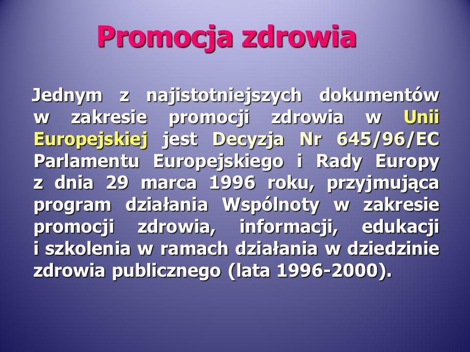 W Unii Europejskiej problematyka promocji zdrowia stanowi istotną część działań podejmowanych na rzecz zdrowia publicznego.