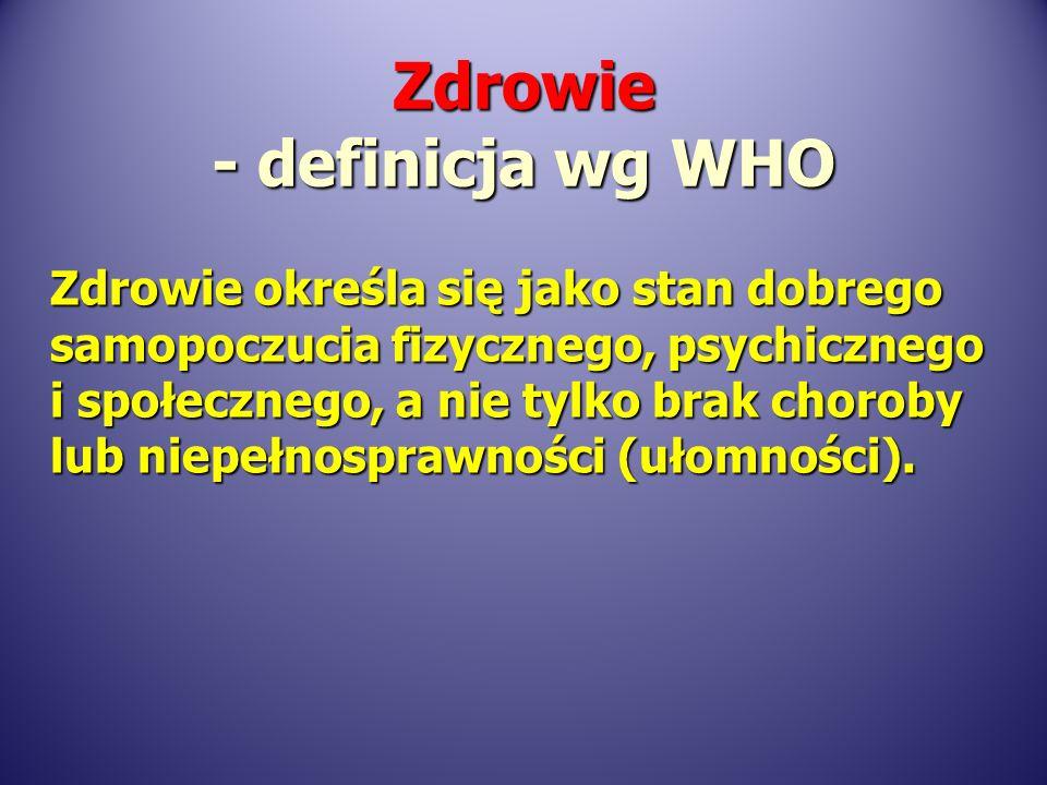 W strategii Światowej Organizacji Zdrowia Zdrowie dla wszystkich w roku 2000 przyjętej także w Polsce oraz koncepcji promocji zdrowia podkreślono, że zdrowie jest: W strategii Światowej Organizacji Zdrowia Zdrowie dla wszystkich w roku 2000 przyjętej także w Polsce oraz koncepcji promocji zdrowia podkreślono, że zdrowie jest: wartością wartością zasobem (bogactwem) zasobem (bogactwem) środkiem środkiemZdrowie