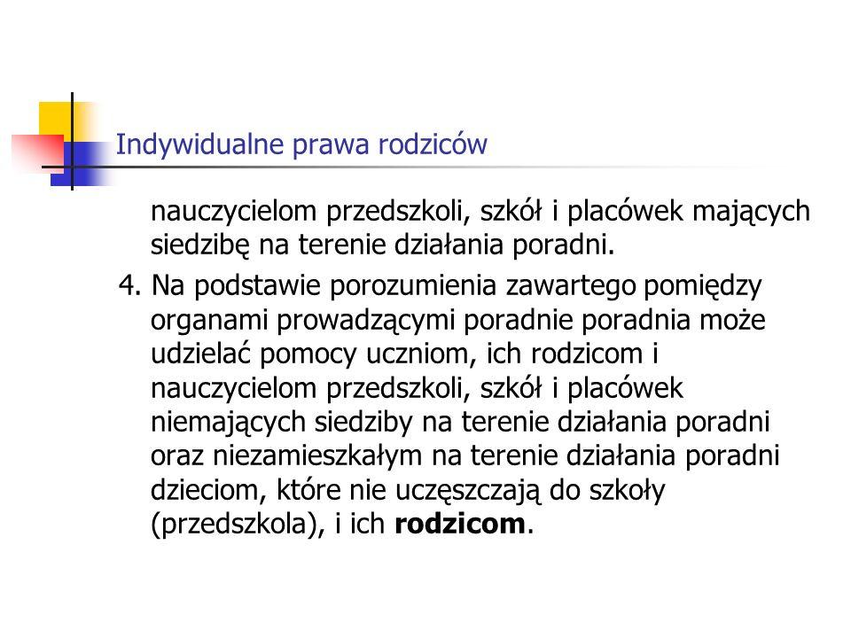 Indywidualne prawa rodziców Rozporządzenie Ministra Edukacji Narodowej z dnia 14 kwietnia 1992 r.
