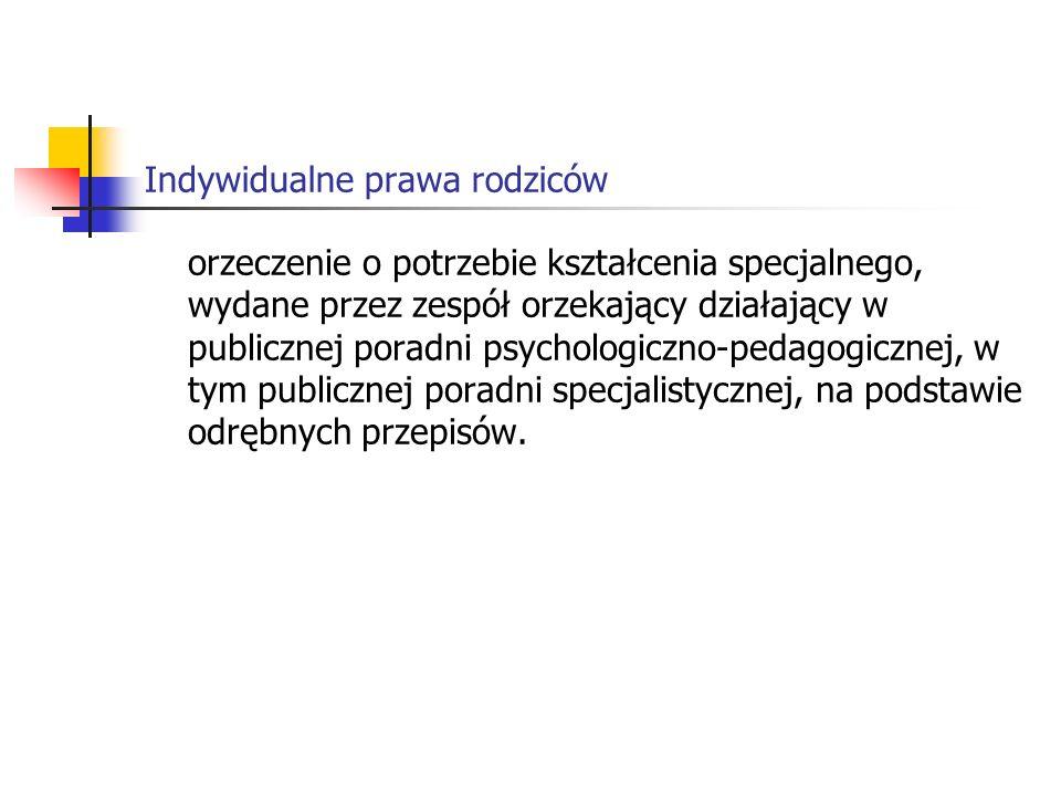 Indywidualne prawa rodziców Rozporządzenie Ministra Edukacji Narodowej i Sportu z dnia 19 grudnia 2001 r.