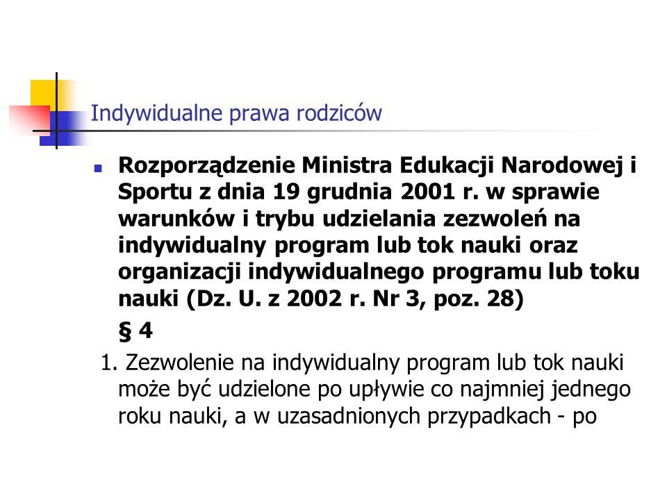Indywidualne prawa rodziców śródrocznej klasyfikacji ucznia.