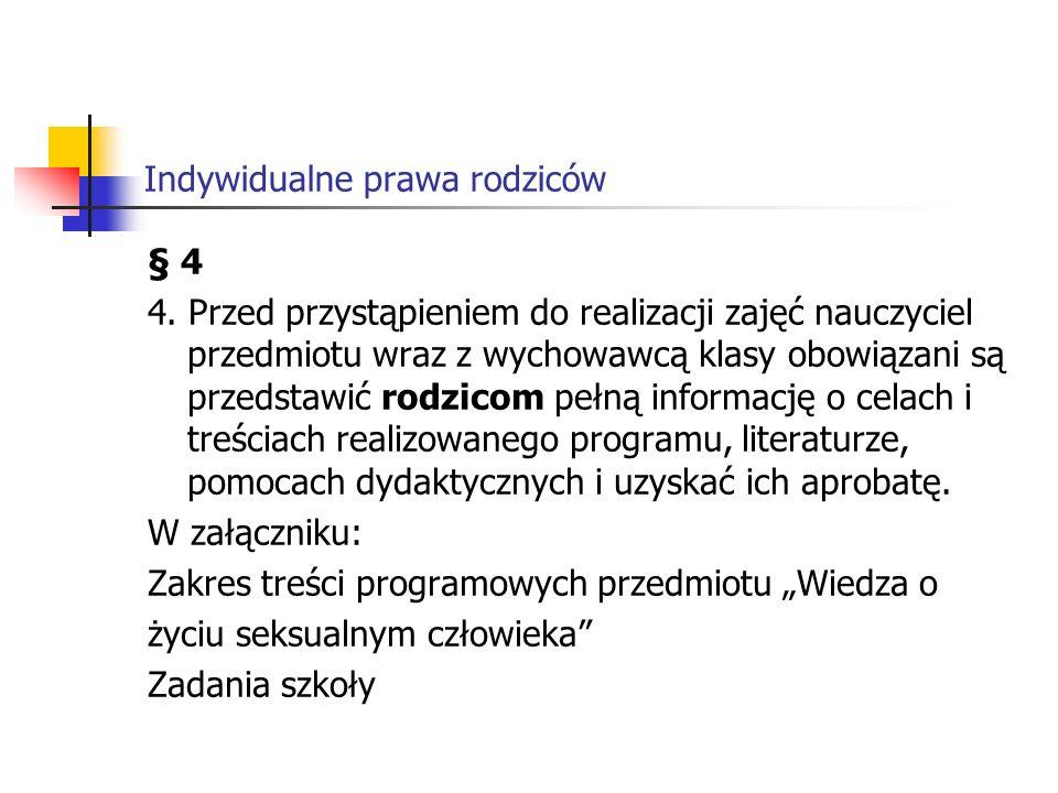 Indywidualne prawa rodziców 1.Wspieranie wychowawczej roli rodziny.