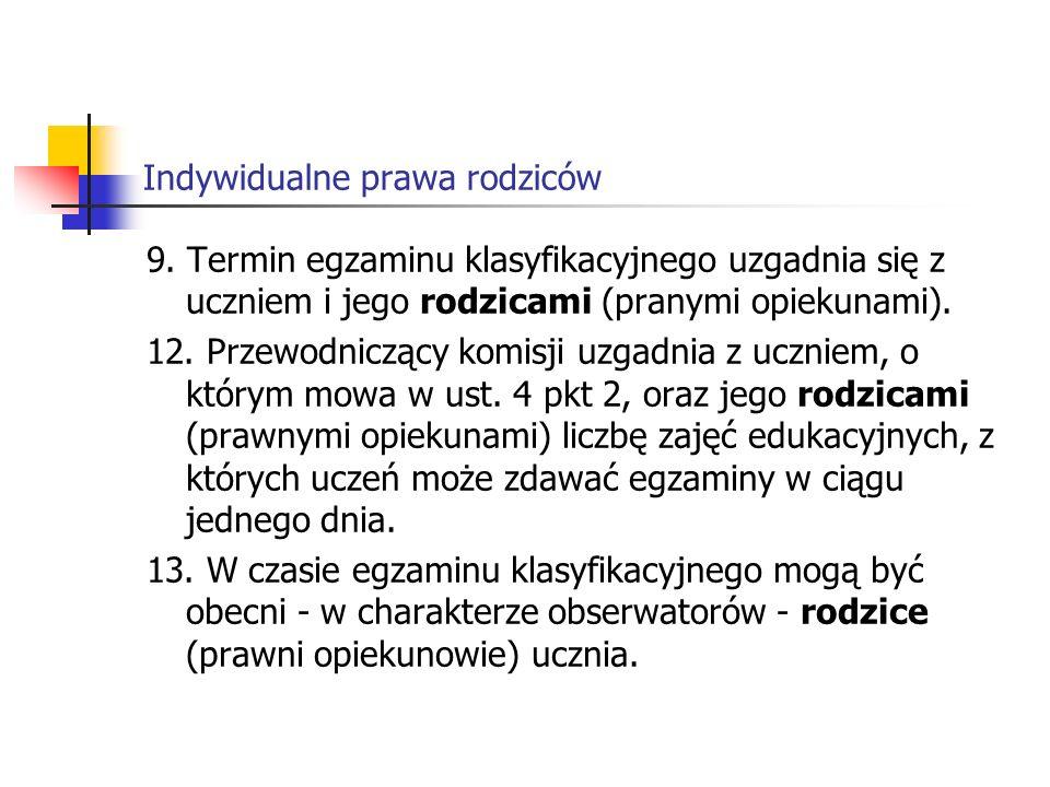 Indywidualne prawa rodziców § 19 1.