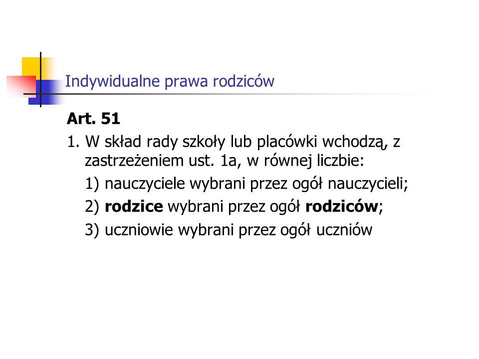 Indywidualne prawa rodziców Art.59 1. Szkoła publiczna, z zastrzeżeniem ust.