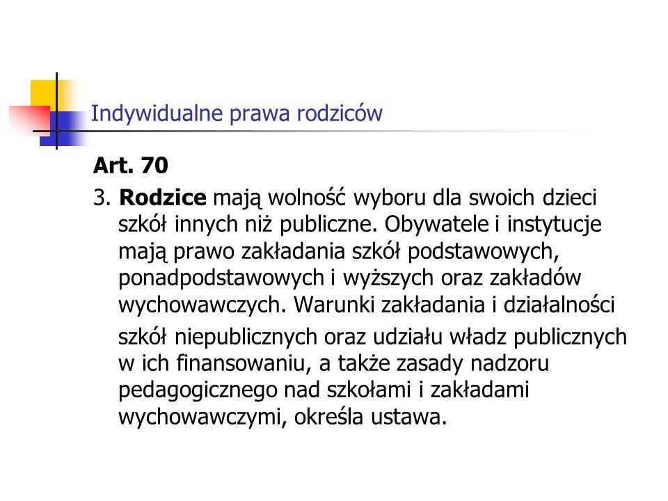 Indywidualne prawa rodziców w Ustawie o systemie oświaty z 7 września 1991r.