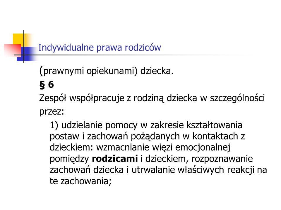 Indywidualne prawa rodziców Rozporządzenie Ministra Edukacji Narodowej z dnia 12 lutego 2001 r.
