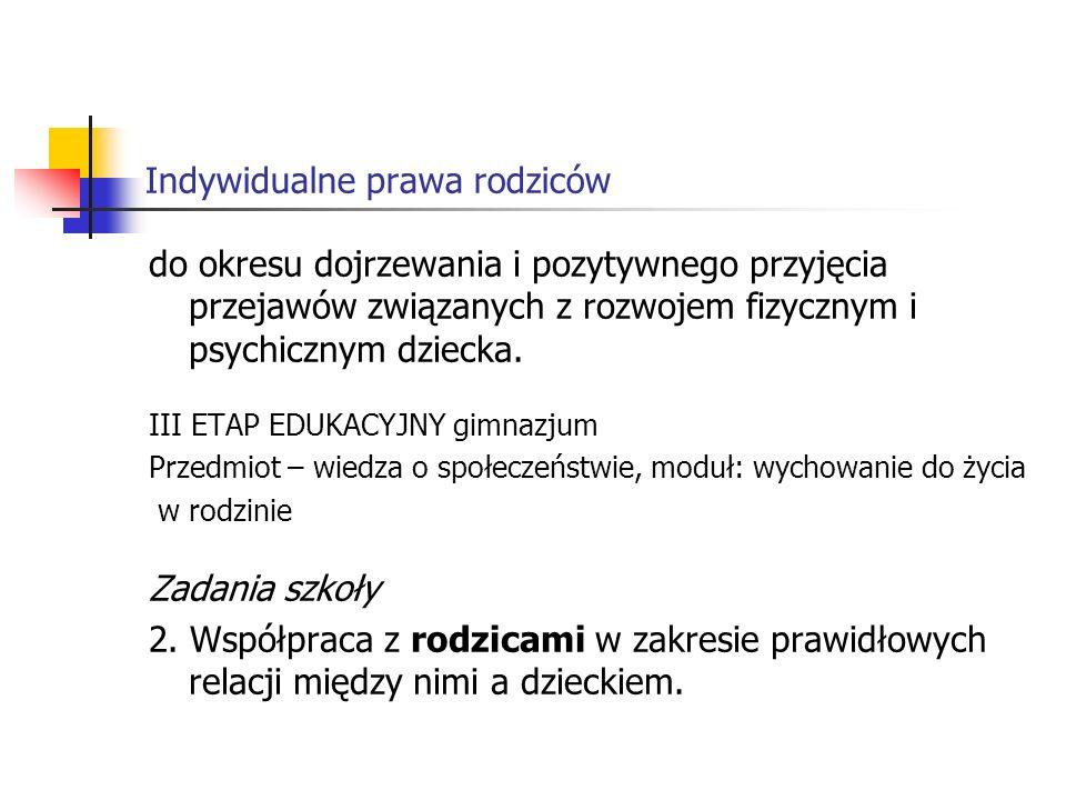 Indywidualne prawa rodziców Treści nauczania 2.Budowa prawidłowych relacji z rodzicami.