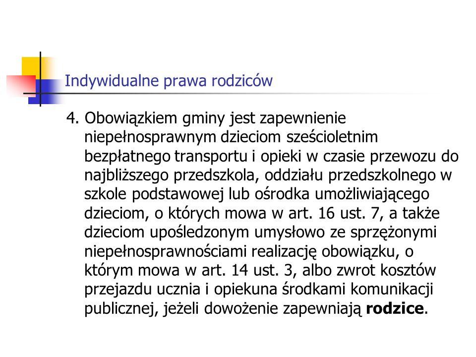 Indywidualne prawa rodziców Art.14b 1.